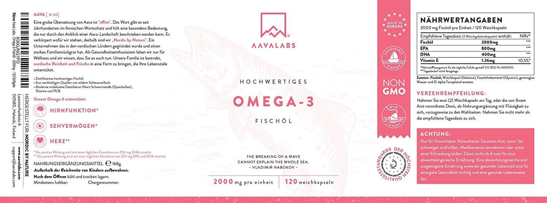 Omega 3 Fischöl [ 2000mg ] von Aava Labs – Hohe Stärke – Molekular destilliert für höchste Reinheit und Frische - 800mg EPA & 400mg DHA pro Tagesdosis - Frei von Gentechnik und Gluten - 120 Kapseln